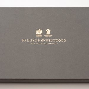 Presentation box, branded with gold embossing